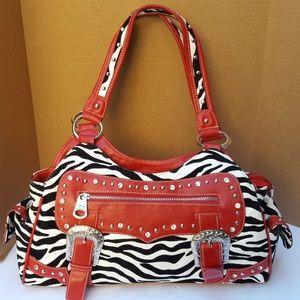 Montana West Bag Red Black White Zebra Stud BLING